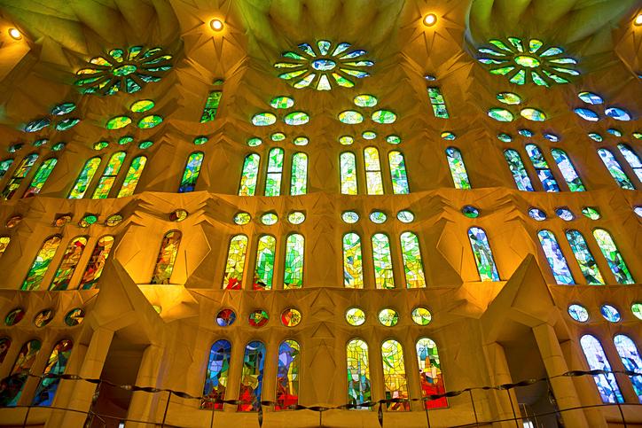 Barcelona, Spain - May 16, 2016: The famous Catholic basilica of the Sagrada Familia in Barcelona, Catalonia, Spain.